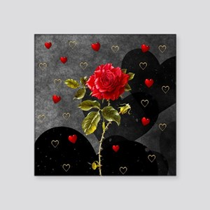 "Red Rose Black Hearts Square Sticker 3"" x 3"""