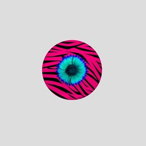 Bright Blue Flower on Hot Pink Zebra Mini Button