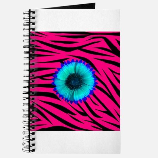 Bright Blue Flower on Hot Pink Zebra Journal