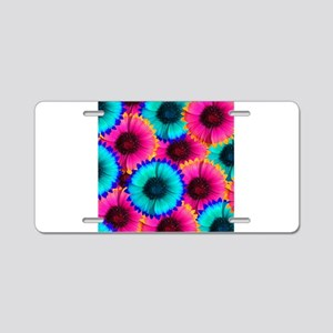 Hot Pink Orange and Blue Flowers Aluminum License