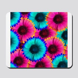 Hot Pink Orange and Blue Flowers Mousepad