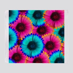 Hot Pink Orange and Blue Flowers Throw Blanket