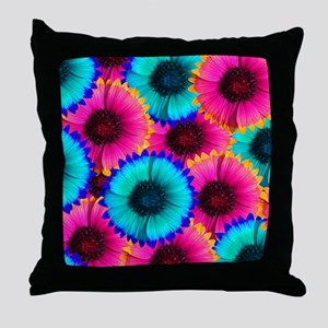 Hot Pink Orange and Blue Flowers Throw Pillow