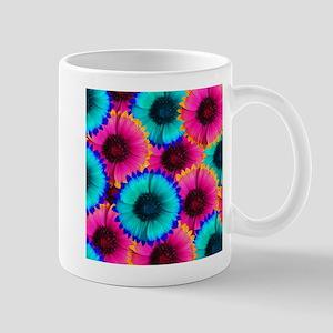 Hot Pink Orange and Blue Flowers Mugs