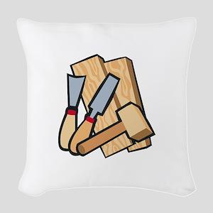 WoodworkingTools Woven Throw Pillow