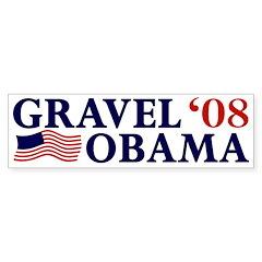 Gravel-Obama '08 Bumper Bumper Sticker