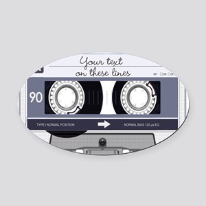 Cassette Tape - Grey Oval Car Magnet