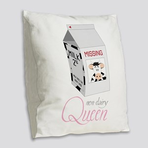 Non-Dairy Queen Burlap Throw Pillow