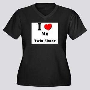 I Love Twin Sister Women's Plus Size V-Neck Dark T