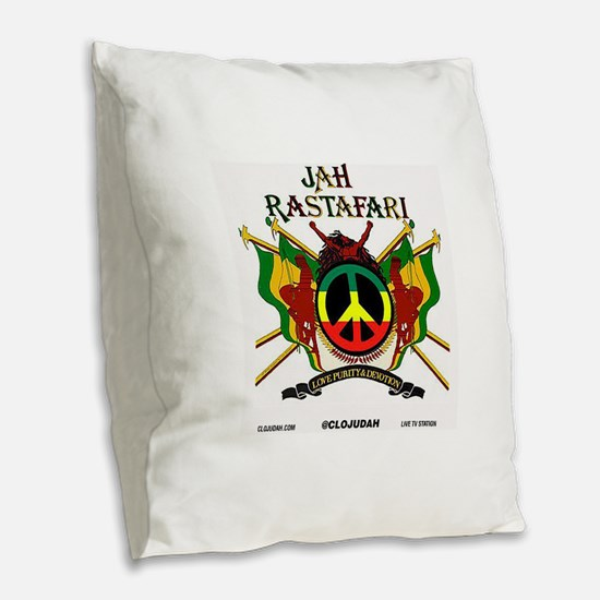Jah Rastafari Burlap Throw Pillow