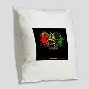 Lion of Judah Reggae Burlap Throw Pillow