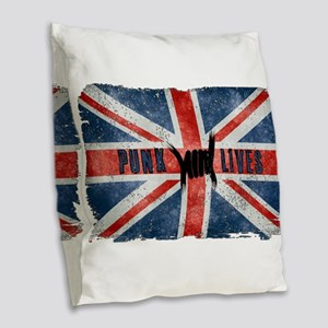 Punk Lives-BRITISH FLAG Burlap Throw Pillow