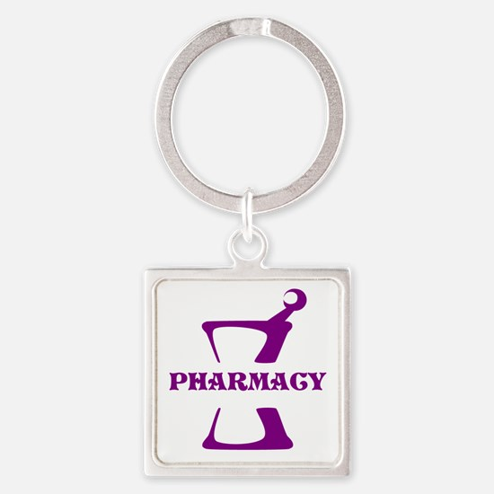 Purple Mortar and Pestle Square Keychain