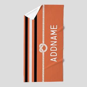 Black Orange Stripes Knot Beach Towel