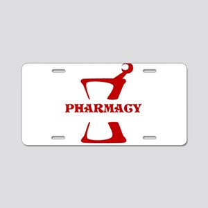 Red Mortar and Pestle Aluminum License Plate
