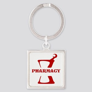 Red Mortar and Pestle Square Keychain