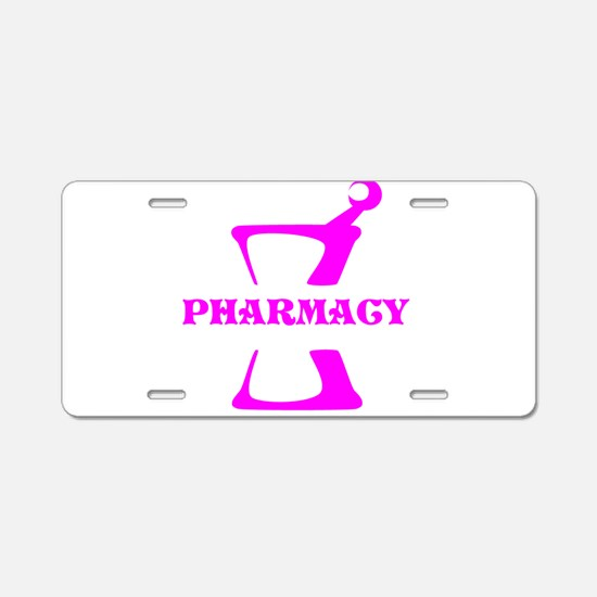 Pink Mortar and Pestle Aluminum License Plate