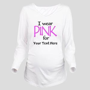 Custom Pink Long Sleeve Maternity T-Shirt