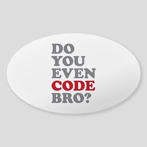 Do You Even Code Bro Sticker (Oval)