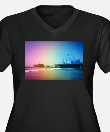 Santa Monica Pier Rainbow Plus Size T-Shirt