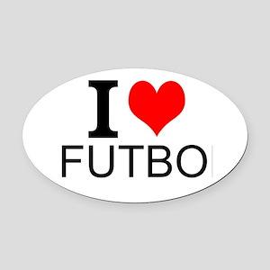 I Love Futbol Oval Car Magnet