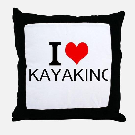 I Love Kayaking Throw Pillow