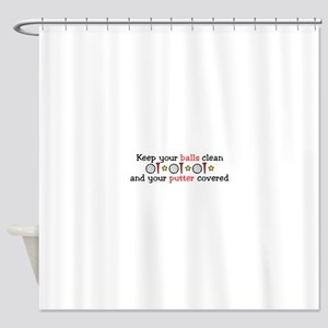 Putter Covered Shower Curtain