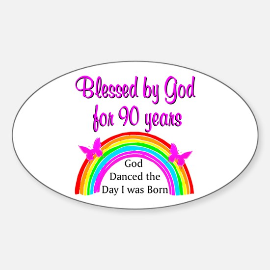 BLESSED AT 90 Sticker (Oval)