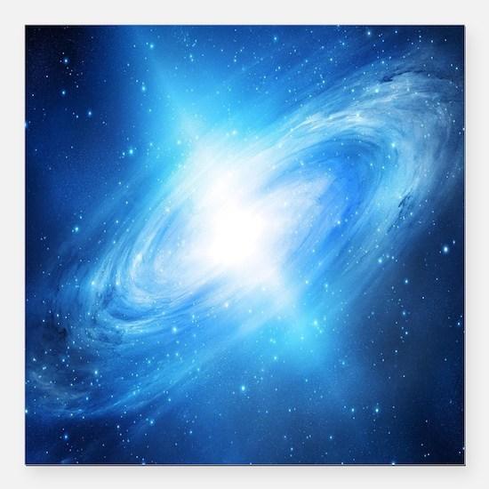 "Blue Galaxy Square Car Magnet 3"" x 3"""