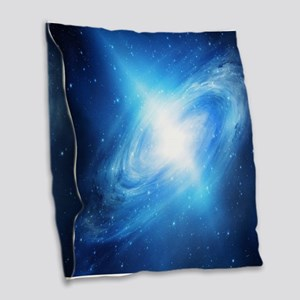 Blue Galaxy Burlap Throw Pillow