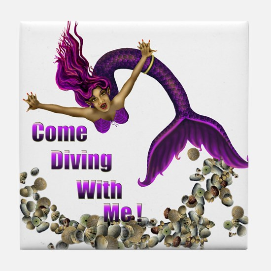Come Diving with me Tile Coaster