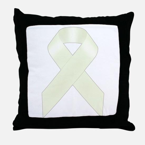 White Awareness Ribbon Throw Pillow