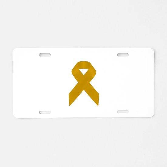 Gold Awareness Ribbon Aluminum License Plate