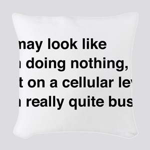 Cells are busy Woven Throw Pillow
