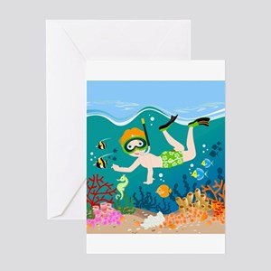 Boy swimming in tropical sea Greeting Cards