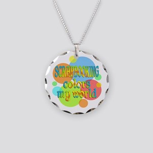 Scrapbooking Colors My World Necklace Circle Charm