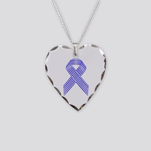 Blue and White Stripe Awarene Necklace Heart Charm