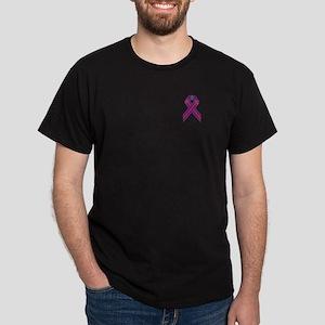 Purple With Red Stripe Awareness Ribb Dark T-Shirt
