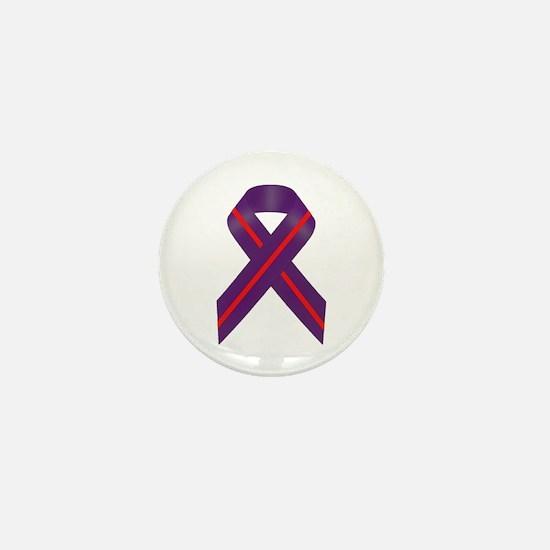 Purple With Red Stripe Awareness Ribbo Mini Button