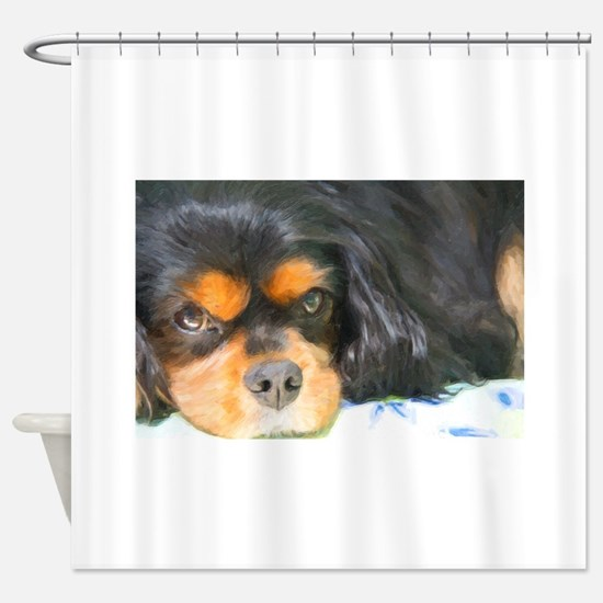 Painted Black & Tan Cavalier Shower Curtain