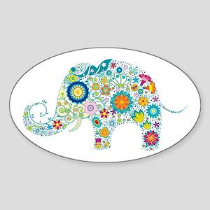 Colorful Retro Flowers Elephan Sticker