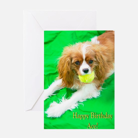 Happy Birthday Ace Tennis Dog Greeting Cards