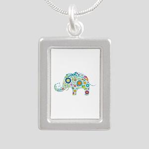 Colorful Retro Flowers Elephant Shape Necklaces