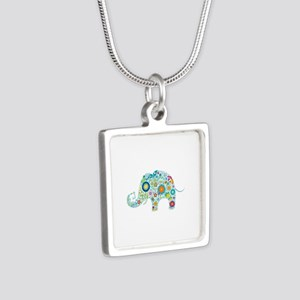 Colorful Retro Flowers Elephant Shape Necklaces