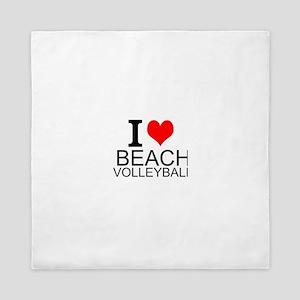 I Love Beach Volleyball Queen Duvet