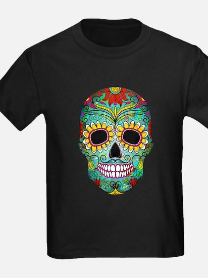 Colorful Retro Flowers Sugar Skull T-Shirt
