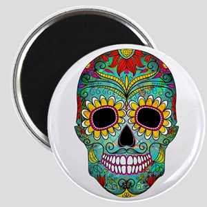 Colorful Retro Flowers Sugar Skull Magnets