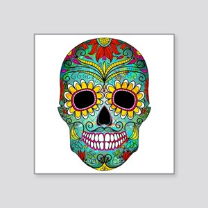 Colorful Retro Flowers Sugar Skull Sticker
