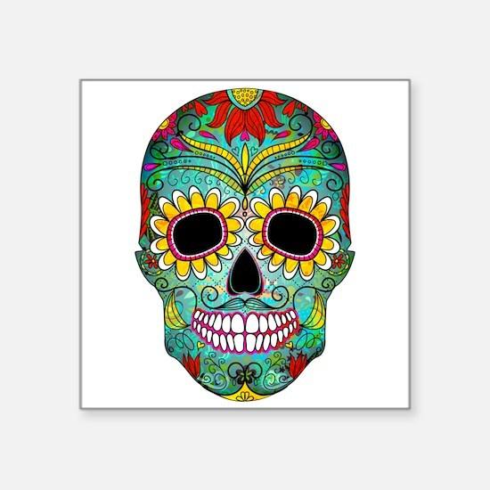 Colorful Retro Flowers Sugar Skull Sticker