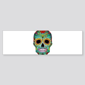 Colorful Retro Flowers Sugar Skull Bumper Sticker